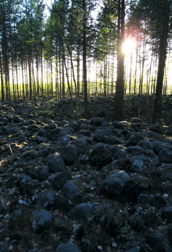 Kivistä muodostettuja sirpalesuojia.